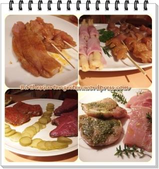 Raclette (Putenspieße Marinade, Putenfleisch auf Spieß, Rumpsteak, Schweinerücken (Medaillons)